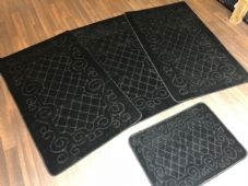 ROMANY GYPSY WASHABLES NICE NON SLIP SET OF 4 MATS/RUGS BLACK CHEAPEST AROUND